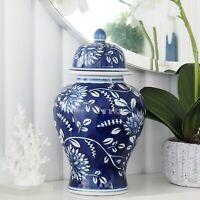 Blue Jardin Ceramic Ginger Jar Blue and White 31cm Hamptons Coastal Home Decor
