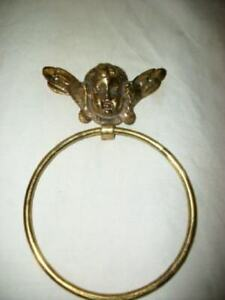 VINTAGE BRASS CHERUB TOWEL RING JAPAN FRENCH STYLE VINTAGE MID CENTURY