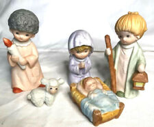 Vintage Homco Home Interiors Children Nativity Christmas Holiday Porcelain Set 5