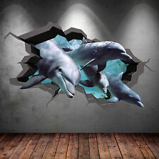 FULL COLOUR 3D AQUARIUM DOLPHIN UNDER WATER CRACKED WALL STICKER DECAL WSD247