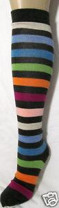 K.Bell Brown W/Bright Stripe Merino Wool Blend Knee High Socks Ladies NWT