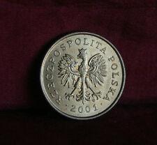 2001 Poland 5 Groszy World Coin Brass Y278 Polska Eagle Wings Polish Oak Leaves