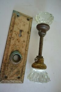 Vintage Clear Glass Door Knobs set with metal flashing