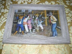 KITTEN EXERCISE CLASS 4 X 6 rustic gray framed animal picture Antique style art