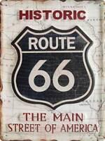 Historic Route 66 Bianco Targa Poster Metallo Cartello in Acciaio 30 x 40 CM