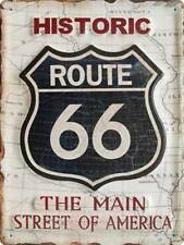Historic Route 66 white Blechschild Metallschild Stahlschild Tin Sign 30 x 40 cm