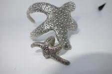 "SILVER colored Starfish Cuff Bracelet glitter dot pattern 3"" wide & RING 6.5-7.5"