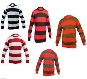 Childrens Stripe Crew Neck Knitted Jumper Fancy Halloween Night Party Wear Dress