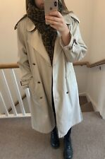 Vintage Beige Oversized Long Double Breasted Trench Coat Jacket Size 12 VGC