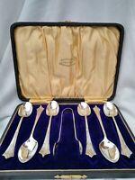 Rare Antique ALBANY Art Nouveau Silver Plate Teaspoon Tong Set Unused Boxed 1900