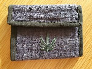 100% Natural Hemp Wallet With Leaf Motif Multi Compartments Zip Unisex - NEW