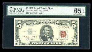 DBR 1963 $5 Legal Gem STAR Fr. 1536* PMG 65 EPQ Serial *00131145A