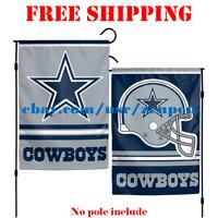 "Dallas Cowboys Logo Garden Outdoor Flag Double Sides 12x18"" NFL 2019 Fan NEW"