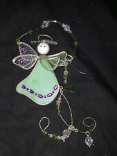 Christmas Tree Ornament Stained Glass Green Angel Holiday Decorations USED