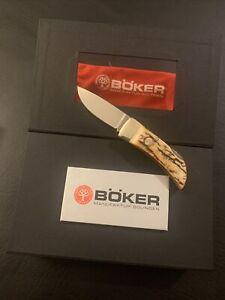 Boker Lockback Knife Nice Genuine Stag Handle Stainless Drop Point Folding Knife