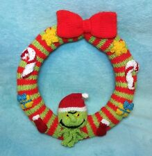 KNITTING PATTERN - Christmas Grinch inspired Wreath Hanging Decoration 22 cms
