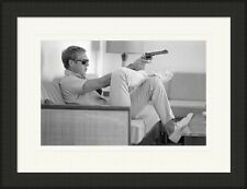 Steve McQueen mounted framed print - Takes aim - 4 frame choices - 3 sizes
