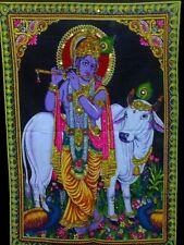 God Krishna Cow Tapestry Painting Sequin Batik Wall Hanging Medium ASBM003