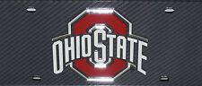OHIO STATE BUCKEYES CARBON FIBER LOOK AUTO LICENSE PLATE INLAID MIRRORED ACRYLIC