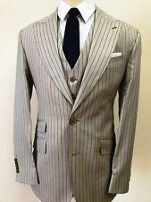 Almond Ariston 3 piece pinstripe cashmere wool suit with vest- wide peak lapel