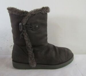 AIRWALK  WOMENS ANKLE BOOTS SIZE UK 6 EU 39 BROWN FAUX SUEDE