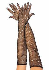 Rhinestone Black Fishnet Opera Length Gloves, Evening, Glamour, Ball, Sexy
