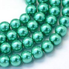 1 Strand 3mm Aquamarine Pearl Glass Beads