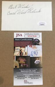 WEEB EWBANK SIGNED 3 x 5 INDEX CARD AUTOGRAPHED NFL HOF JSA CERTIFIED AUTOGRAPH!