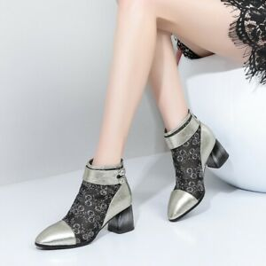 Womens Fashion Leather Floral Mesh Block Heel Buckle Strap Ankle Boots Shoes CCA