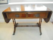 Vintage reproduction Georgian drop leaf coffee table, brass claw feet, 2 drawers
