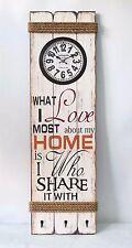 Orologio da parete Home bianco shabby con ganci rettangolare in legno