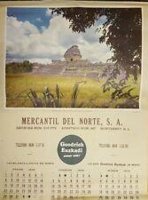 """RARE"" VINTAGE CHICHEN - ITZA GOODRICH - EUZKADI 18"" x 23"" MEXICAN CALENDER 1956"