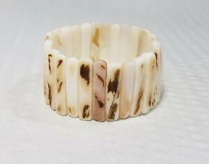 Vintage Beige Mother of Pearl Shards Stretch Bracelet