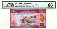 SHRI LANKA 20 RUPEES 2015 CENTRAL BANK PICK 123 c GEM UNC LUCKY MONEY VALUE $66