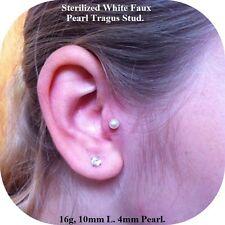 STERILIZED 16G 10mm MICRO White Faux Pearl Ball TRAGUS STUD. 3mm Pearl Ball.