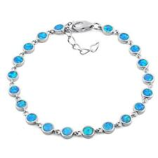 Lucia` Solid .925 Sterling Silver Round Blue Lab Opal Bracelet Ladies Woman's