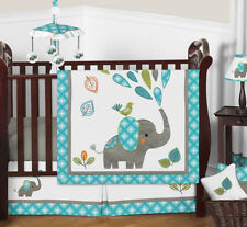 Bumperless Modern Elephant Turquoise Blue & Grey Baby Girl Boy Crib Bedding Set