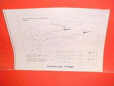 1964 AUSTIN-HEALEY SPRITE 3000 CONVERTIBLE MG MIDGET FRAME DIMENSION CHART