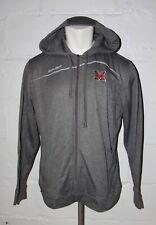 USED Bauer Miami Ohio Redhawks Hockey Full Zip Gray Hooded Hoodie Sweatshirt L