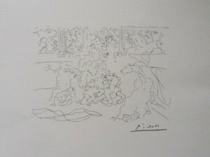 Pablo Picasso(After) : The Combat Equestrian -. Lithography Signed #1200ex