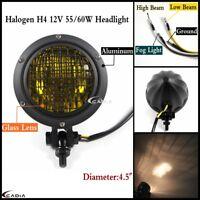 """4.5"""" Motorcycle Mesh Headlight H4 Head Lamp For Harley Cafe Racer Bobber Chopper"""