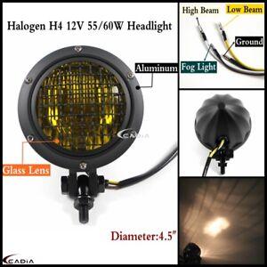 """Aluminum 4.5"""" Mesh Grill Headlight Lamp Glass Lens For Harley Cafe Racer Bobber"""