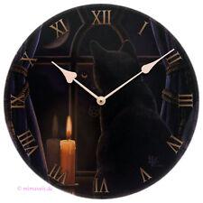 Wanduhr Bilderuhr Uhr Bild Deko Mitternachtswache schwarze Katze mit Kerze Mond