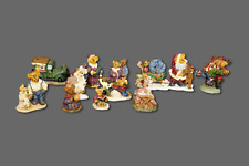 Boyd's Bears Town Village Set Of 13 Mini Teddy Bear Resin Figurines Figures