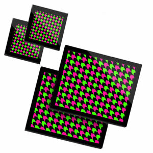 2 Glass placemates & 2 Glass coaster  - Geometric Neon Coloured Arrows  #21362