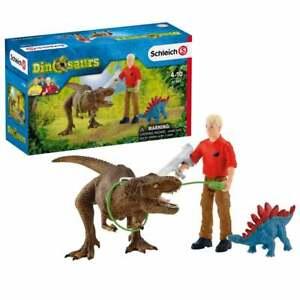 Schleich Dinosaur World Tyrannosaurus Rex Attack with 2 Figures inc Stegosaurus