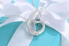 Tiffany & Co Silver Elsa Peretti Medium Open Heart Diamond Necklace + BOX POUCH