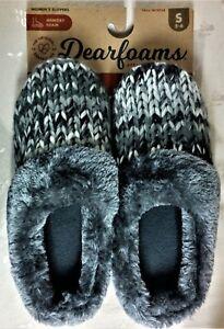 NWT Dearfoams Multi-Gray, Velvet, Crochet & Fur Slippers, Women's Size 5/6 Small