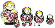 Russian Hand Painted Black Nesting Dolls Set of 10 Matryoshka