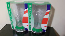 NEW PAIR OF BOXED 2012 OLYMPICS MCDONALDS COCA COLA GLASSES WITH GREEN WRISTBAND